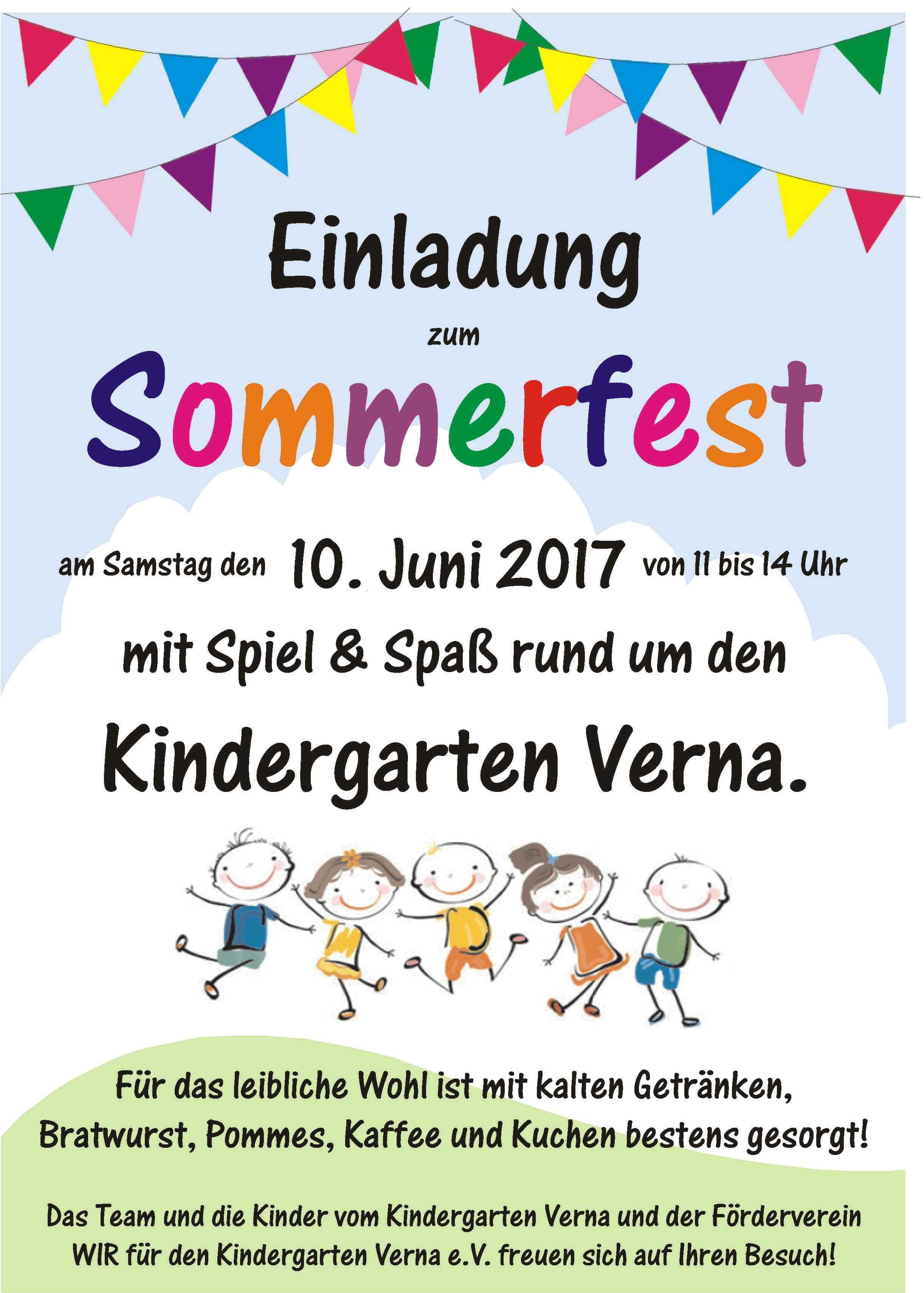 sommerfest 2017 - förderverein wir für den kindergarten verna e. v., Einladung